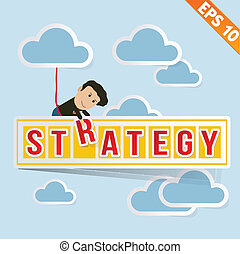 Cartoon Businessman with business billboard - Vector illustration - EPS10