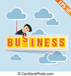 Cartoon Businessman with business billboard - Vector illustration - EPS10