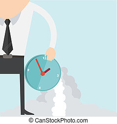 Cartoon businessman with clock concept
