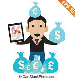 Cartoon Businessman with financial money - Vector...