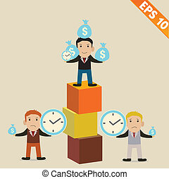 Cartoon Businessman with financial money - Vector illustration - EPS10