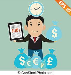 Cartoon Businessman with financial money - Vector illustration - EPS10