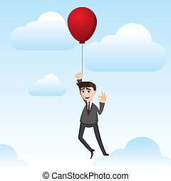 cartoon businessman with floating balloon
