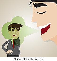 cartoon businessman with halitosis stinky - illustration of...