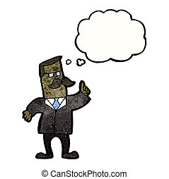 cartoon businessman with idea