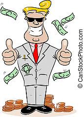Cartoon Businessman with Money