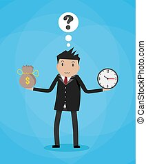 Cartoon businessman with money bag and clock