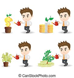 cartoon businessman with money tree