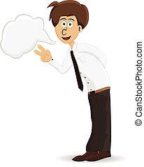 cartoon businessman with peace hand
