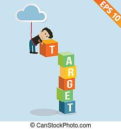 Cartoon Businessman with target - Vector illustration - EPS10