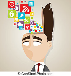 cartoon businessman with technology icons in his head