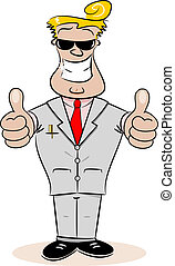 A cartoon businessman with thumbs up and cheesy smile