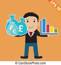 Cartoon Businessman with time management - Vector illustration - EPS10