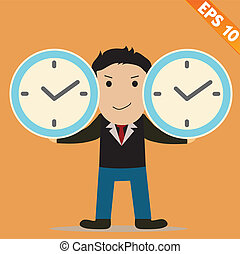 Cartoon Businessman with time management - Vector illustration - EPS10