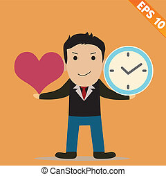 Cartoon Businessman with time to love - Vector illustration - EPS10