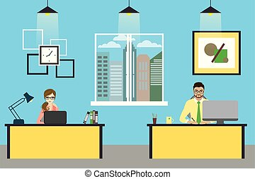 Cartoon businessman working at home, living room interior design with furniture