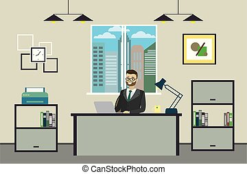 Cartoon businessman working at home or modern office