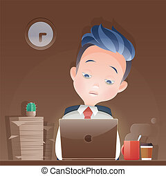 Cartoon businessman working overtime late night  in office. Vector and Illustration.