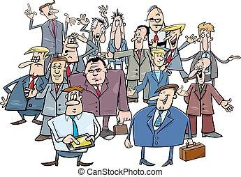 cartoon businessmen group illustration