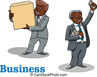 Cartoon businessmen with money and box