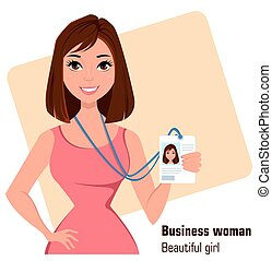 Cartoon businesswoman. Beautiful brunette lady in fashionable dress showing badge.