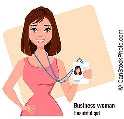Cartoon businesswoman. Beautiful brunette lady in fashionable dress showing badge.
