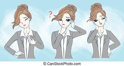 cartoon businesswoman feel confuse