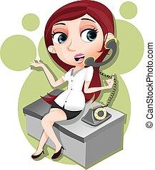 businesswoman talking on classic retro phone.