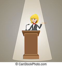 cartoon businesswoman talking on podium - illustration of...
