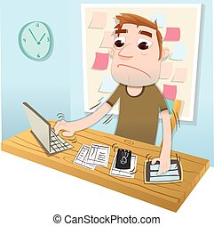 cartoon busy man