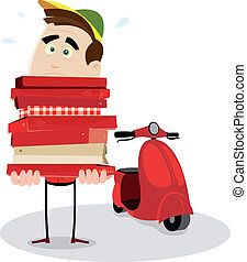 Illustration of a cartoon pizzaman holding a weighty pile of pizzas
