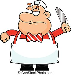 Cartoon illustration of a butcher with a grumpy expression.