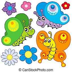 Cartoon butterflies collection
