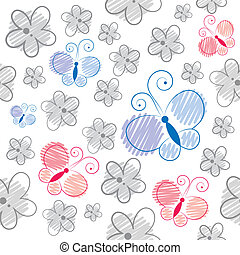 seamless pattern with gray flowers and cartoon butterflies