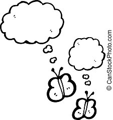 cartoon butterflies with thought bubbles