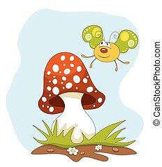 Cartoon butterfly and a mushroom over blue sky