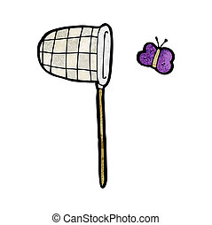 cartoon butterfly and net