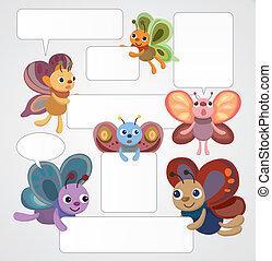 cartoon butterfly card/speech