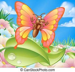 Cartoon Butterfly in Meadow
