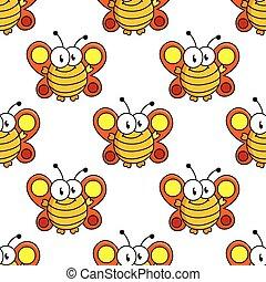 Cartoon butterfly seamless pattern