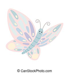 Cartoon Butterfly with Spread Wings Vector Illustration