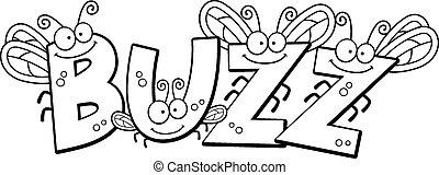 Cartoon Buzz Fly Text - A cartoon illustration of the text...