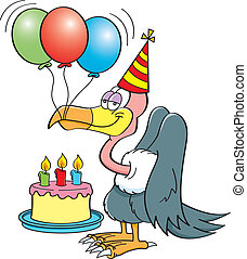 Cartoon buzzard with a birthday cak - Cartoon illustration...