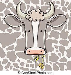 cartoon., cabeça, vetorial, vaca
