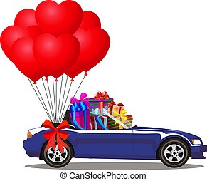 cartoon cabriolet car full of gifts and bunch of balloons