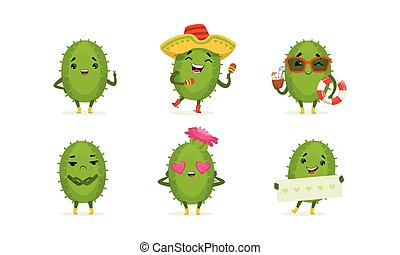 Cartoon Cactus Character Isolated on White Background Vector Set