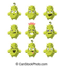 Cartoon Cactus Emoji Set