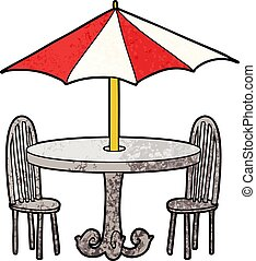 Cafe table and chairs under an umbrella, shade picture.