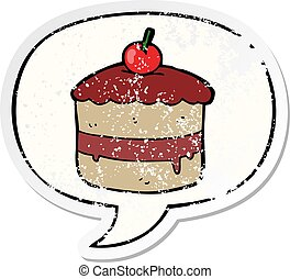 cartoon cake and speech bubble distressed sticker