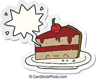 cartoon cake and speech bubble sticker